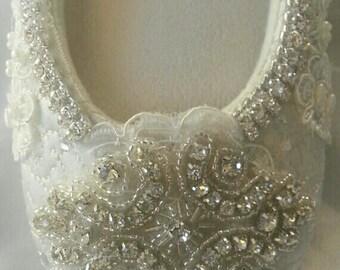 "Ballet WEDDING Bridal Slipper  Flat ""Celtic""  SWAROVSKI Crystal Pearl Ballerina Comfortable Now On Sale!"