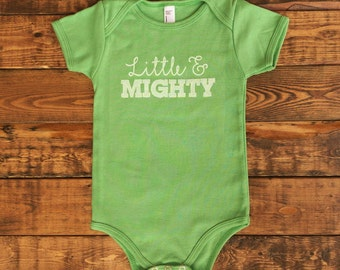 The Little & Mighty Onesie || Grass Green Short Sleeve Onesie || Little and Mighty Bodysuit || Children Girls Boys