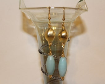 Gold Earrings with Amazonite gemstone