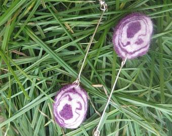 Purple-White Swirl Felt Earrings