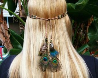 Custom feather hemp beaded headpiece with charms