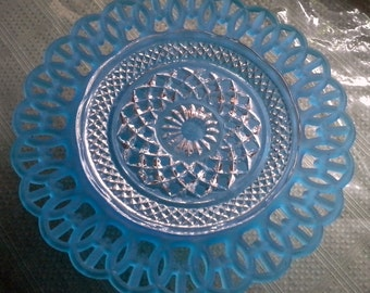 Blue glass serving dish with scalloped edges on pedestal Dessert Stand