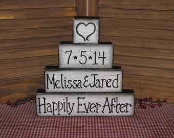 Wedding Anniversary personalized wood block set hand painted table decor primitive shelf sitter wedding gift