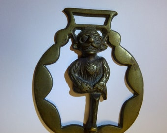 Vintage solid horse brass with unusual goggled steampunk pixie motif