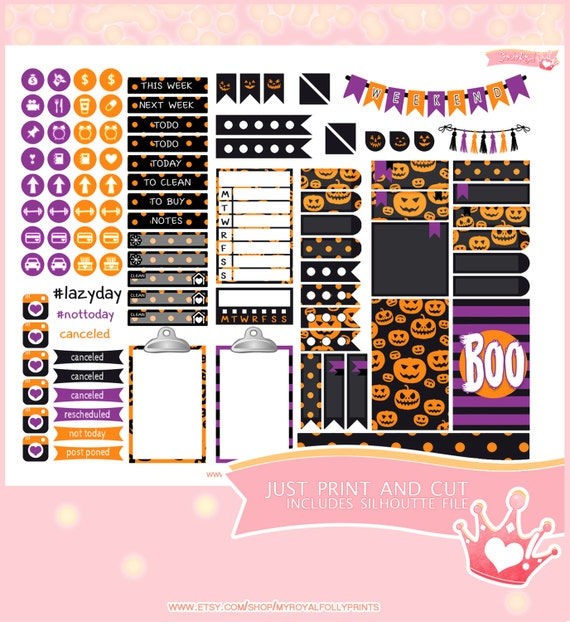 Halloween Pumpkins | Printable Planner Stickers | Happy Planner | Instant Digital Download with Silhouette file
