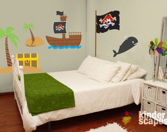 Personalized Pirate Room Wall Decal Pack   Kids Wall Decal   Printed Vinyl  Decal   Pirate