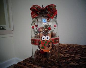 Christmas Owl Jar Light