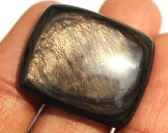 22x25 mm Natural Gold Sheen Obsidian Gemstone Cushion Cabochon / Natural Gemstone Cabochon / Semiprecious Gemstone Cabochon