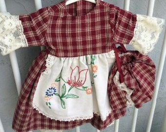 Heirloom Doll Dress with Pantaloons and Bonnet