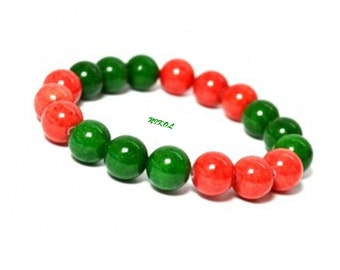 Red Jade Bracelet, 10mm Jade Bracelet, Green Bracelet, Bead Bracelet Women, Stretch Bracelet, Red Jewelry Gift, Gift Ideas for Women