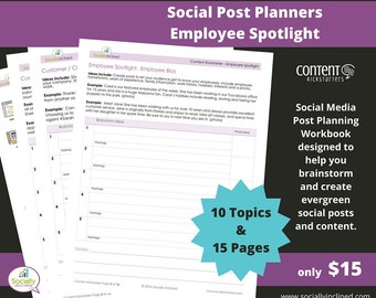 Social Media Planner - Employee Spotlight Social Post Planner - 15 Pages & 10 Topics to create evergreen social media content.