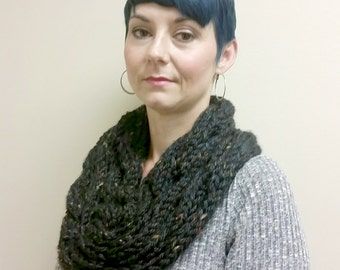 Black Tweed Chunky knitted ultra soft Cowl - Infinity Scarf