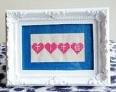 TITS love hearts framed cross stitch