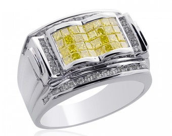 1.65 Carat Mens Princess Cut Yellow Fancy Diamond Ring 14K White Gold