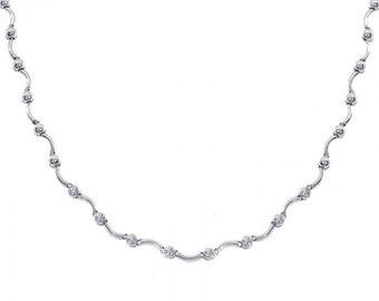 0.65 Carat Diamond S-Shape Link 14K White Gold Necklace