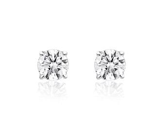 0.27 Carat Round Brilliant Cut Diamond Solitaire Stud Earrings 14K White Gold
