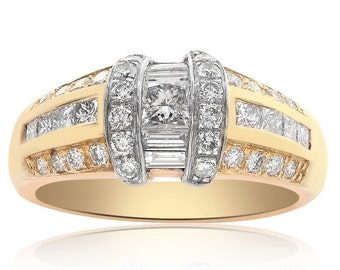 1.00 Carat Round, Princess and Baguette Cut Diamond Ring 14K Two Tone