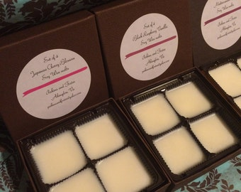 Set of three boxes of soy wax melts.  Black raspberry vanilla, Japanese cherry blossom, and Mediterranean fig