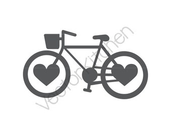 Bike Heart, Bike Love, Cycle Love, Inspired Silhouette Cutting Template SVG & More, Silhouette, Cricut, Vector, Instant Download, Cycling
