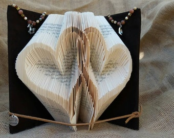 Hearts folded book,folded book art, book folding, love quotes,paper anniversary, valentine's art