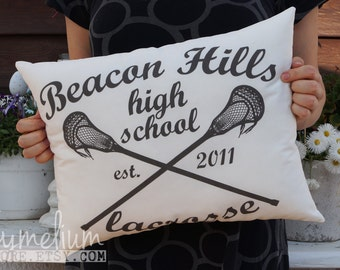 6 colors - Beacon Hills - Teen Wolf - high school lacrosse - hand made pillow