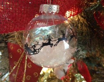 Santa Sleigh SIlhouette Ornament