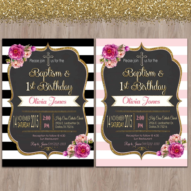 First Birthday And Baptism Invitations 1st Birthday And: Baptism And Birthday Invitation 1st Birthday Baptism Invites