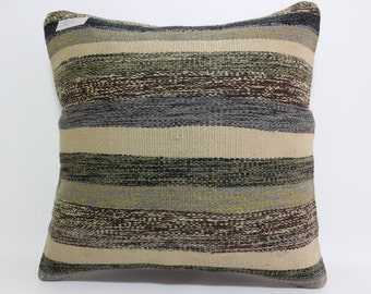 multicolour Pillow 16x16 striped pillow floor pillow vintage Turkish kilim pillow  throw pillow decorative pillow boho pillow SP4040-815