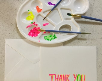 Hand painted greeting card. Thank you. Neon color.