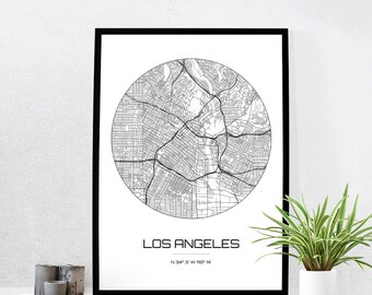 Los Angeles Map Print City Map Art Of Los Angeles California Poster Coordinates Wall
