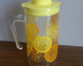 Vintage Pyrex Small Glass Lemonade or Punch Pitcher Yellow and Orange