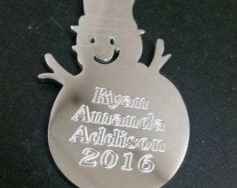 Engraved snowman tree ornament