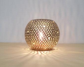 Handmade Moroccan table lantern, candle holder, golden copper