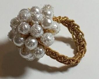 Vintage White Pearl Sugar Bead Ring
