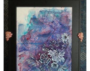 Submerged Petals //  Original Art //  Handmade Art //  Mixed Media Art //  Floral Painting //  Abstract Art //