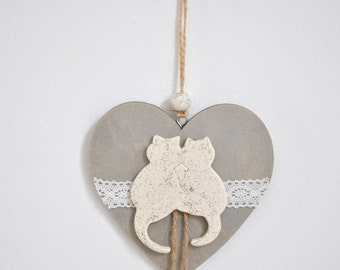 decoration heart hanging wood and ceramic cats