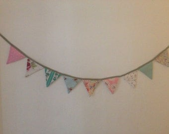 Large Fabric Bunting in mixed vintage patterned fabrics