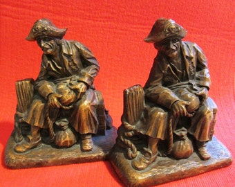 Syroco Wood Bookends Pirates Vintage