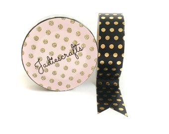 Black & Gold Foil Polka Dot Washi Tape