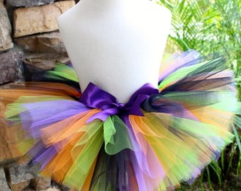 Halloween Tutu, Purple Orange Black Green Tutu, Witch Tutu, First Halloween, Baby Tutu, Toddler Tutu, Girl Tutu