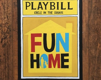 Hand Painted Fun Home Broadway Playbill Canvas