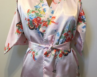 Vintage polyester kimono pink size S, with belt, on sale