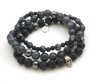 Death multi-head and Obsidian bracelet