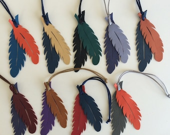 Leather Feather Bagcharms on Silk or Nylon Cord (Series II)
