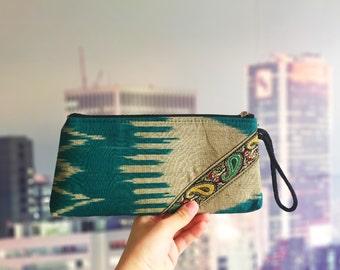 2016 Women Handmade National Ikat Green Yellow bag Purse For Women