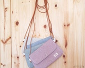 shoulder bag with handle leather - Ecru / blue / crossbody bags - leather strap - color ivory / blue