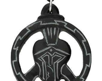 Hand Carved Spartan Helmet on Black Stone Pendant ~ Warrior's Protection