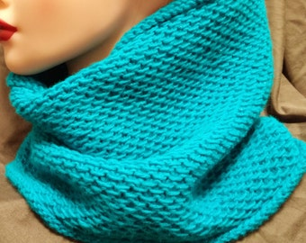 Shimmer teal handmade knitted acrylic cowl