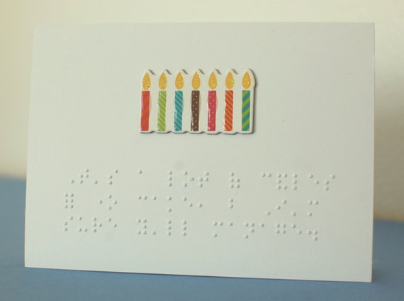 braille birthday card by tactlesstactile on etsy, Birthday card