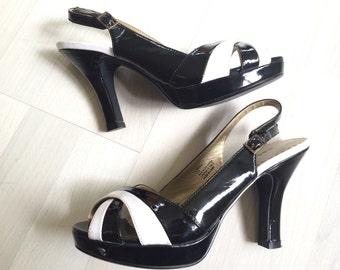 "50s-style Pin-up Pumps B&W vegan patent slingback heels size 5.5"""
